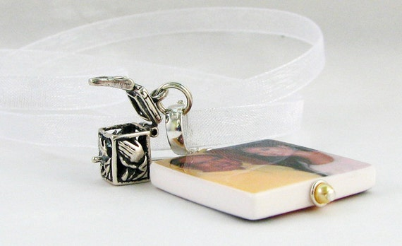 Bridal Bouquet Memorial Photo Charm with Sterling Prayer Box - Medium Photo - BC2a