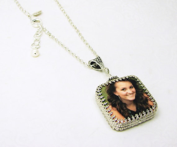 A Custom Photo Pendant Wrapped in a Gorgeous Sterling Silver Frame - Medium - WP2RfN