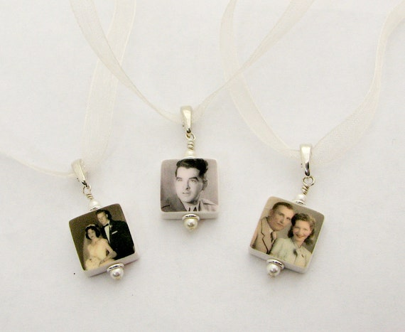 3 Bridal Bouquet Mini Charms, Memorial Photo Charms - BC4x3