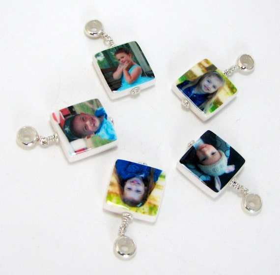 Set of 5 Photo charms on a Sterling Round Bails - Add them to your P@ndΘra or ßrighτΘn style charm bracelet - XSM - C6ax5