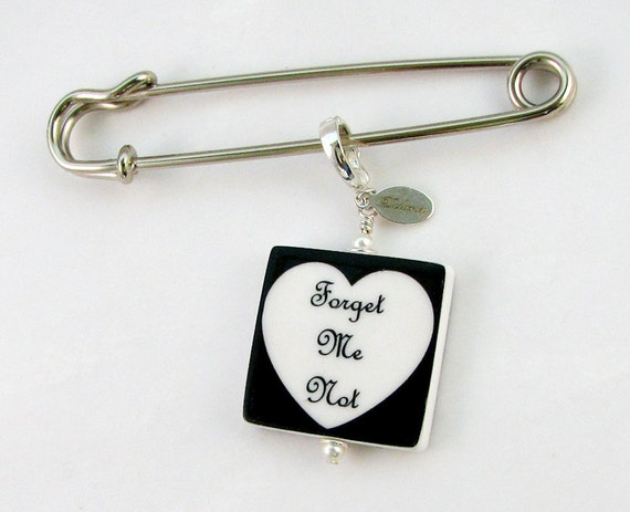 Boutonniere / Corsage Photo Charm, Medium Memorial Charm and Pin - BPP2f