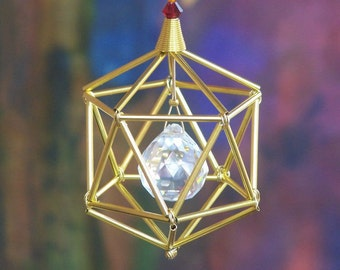 NEW! 7 Chakras Icosahedron Suncatcher / Pendulum - SWAROVSKI - Gold Tones