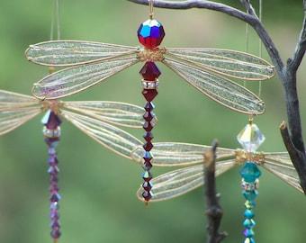 Suncatcher  Dragonfly Small - Birthstones & 28 More Swarovski Colors - GOLD Toned Dazzlefly