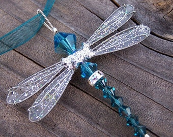 Dragonfly Necklace - Birthstones & 28 More Swarovski Colors - Silver Toned Dazzlefly