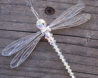 Suncatcher Dragonfly Small - Birthstones & 28 More Swarovski Colors -SILVER Toned Dazzlefly