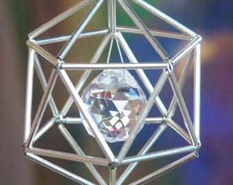 NEW! 7 Chakras Icosahedron Suncatcher / Pendulum - SWAROVSKI - Silver Tones