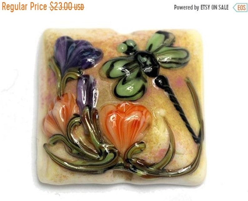 SALE 25% OFF Green Dragonfly w/Orange Flora Pillow Focal Bead image 0