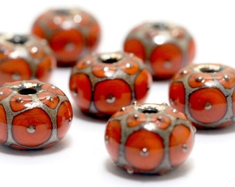 Handmade Glass Lampwork Bead Sets - Seven Coral w/Metal Dots Rondelle Beads  - 10705201