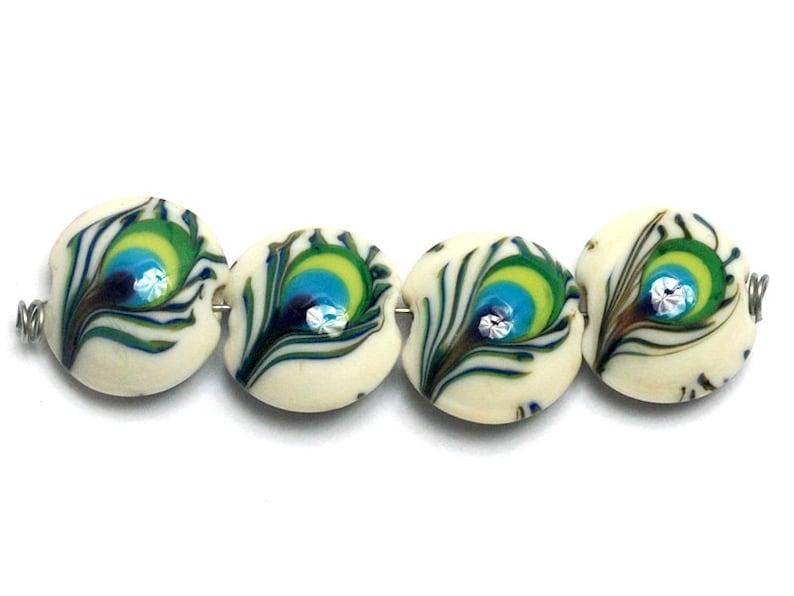 10508012 Handmade Glass Lampwork Bead Set Four Peacock Feather Lentil Beads SALE NEW