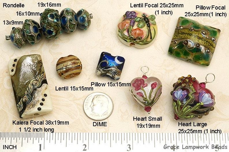 SALE Four Carolina Parakeet Lentil Beads 11007012 Handmade Grace Lampwork Bead Set