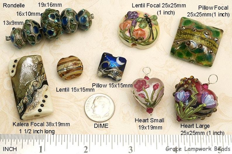 SALE Handmade Glass Lampwork Bead Set Seven Purple /& Blue Rondelle Beads Bubbly Raised Design 10408901