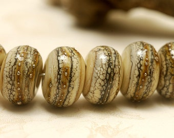 Seven Dark Ivory w/Silver Rondelle Beads - Handmade Glass Lampwork Bead Sets -  10306001