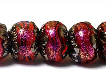 NEW! Handmade Glass Lampwork Bead Set - Seven Passion Pink Shimmer Rondelle Beads 10706701