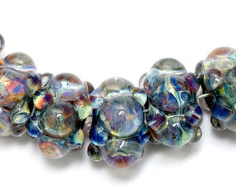Handmade Glass Lampwork Bead Set - Seven Purple & Blue Rondelle Beads - Bubbly Raised Design 10408901