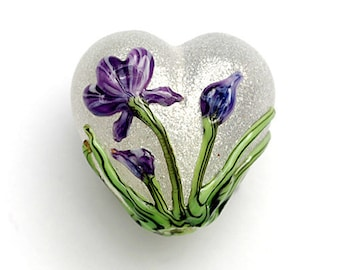 Regalia Flower Heart Focal Handmade Glass Bead - Grace Lampwork Bead - 11832305