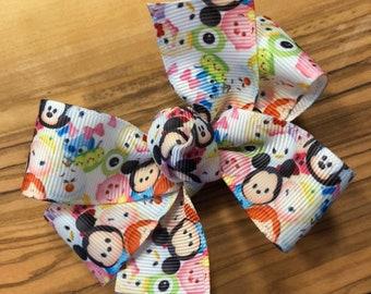 Tsum Tsum Hair Bow (white) - Tsum Tsum, Tsum Tsum Hair Bows, Tsum Tsum Party, Tsum Tsum loot, Tsum Tsum Birthday, Tsum Tsum Party Favor,