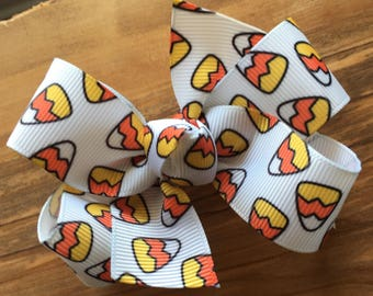 Halloween Candy Corn Bow - WHITE, halloween, candy corn, halloween bow, halloween hair bow, halloween birthday party, halloween hair clip