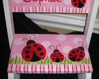 Red Ladybird Laundry Room Decor Time Out Distressed Cottage Furniture Kitchen Helper Foot Stool Real Summer Ladybug Wooden Step Stool