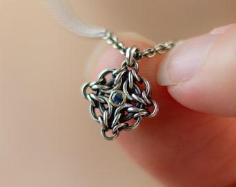 Blue Montana Sapphire Necklace, 18k Gold Bezel in Hypoallergenic Argentium Silver, Custom Length