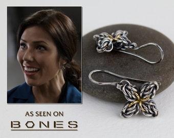 Worn by Angela in BONES, Sterling Silver Dangle Earrings, Oxidized Argentium & 18k Gold Earrings, Star Flower Design As Seen On TV