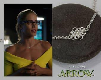 Worn by Felicity Smoak in Arrow: Simple Silver Necklace, Sideways Rhombus, Fused Chainmaille Choker, 15 16 17 18 inch, As Seen on TV