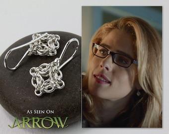 Worn by Felicity Smoak in Arrow, Silver Dangle Earrings, Chainmaille Jewelry, Petite Celestial Drops