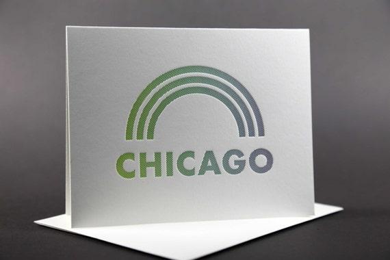 Rainbow Roll: CHICAGO Letterpress card