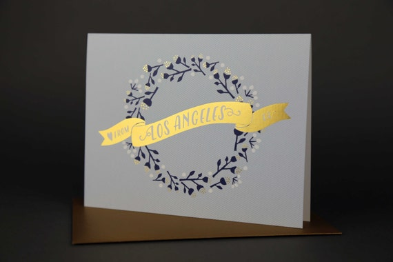 Wreath LOS ANGELES Gold Foil Love card