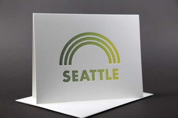Rainbow Roll: SEATTLE letterpress card