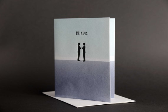 "Dip Dye: ""Mr. & Mr."" Wedding Love Letterpress card"