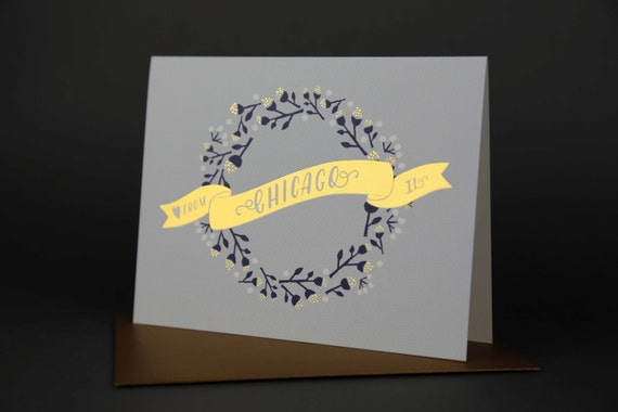 Wreath CHICAGO Gold Foil Love card