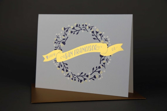 Wreath SAN FRANCISCO Gold Foil Love card