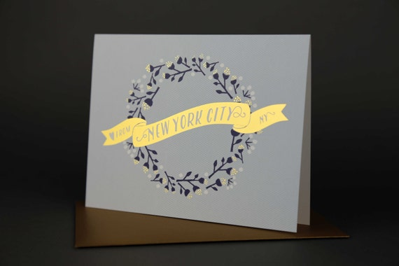 Wreath NEW YORK CITY Gold Foil Love card