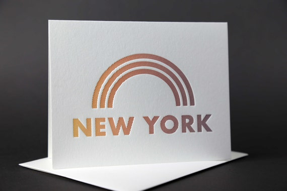 Rainbow Roll: NEW YORK letterpress card