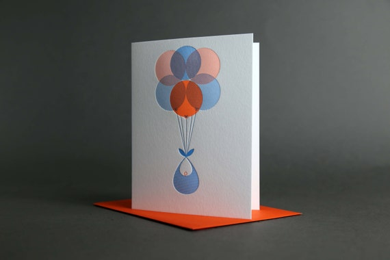 Orange Blue Baby Delivery Balloons
