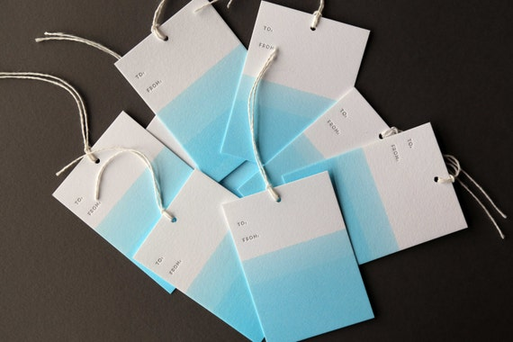 "Set of 8 BLUE hand dip dyed and letterpress printed gift tags, 2.5 x 3.5"" with twine"