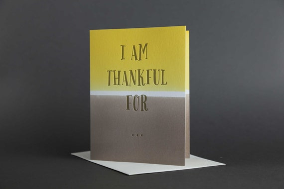 "Dip Dye: Thanksgiving ""Thankful for..."" Letterpress card"