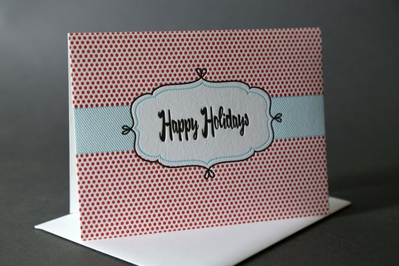 "SALE! Box of 6 Retro Frame ""Happy Holidays"" cards + envelopes"