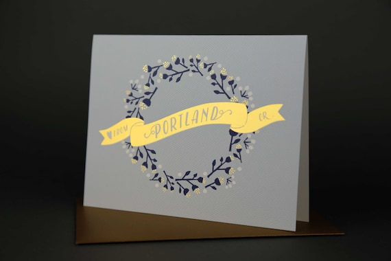 Wreath PORTLAND Gold Foil Love card