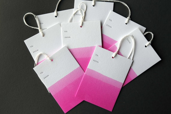 "Set of 8 FUSCHIA hand dip dyed and letterpress printed gift tags, 2.5 x 3.5"" with twine"