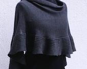 Merino Wool Wrap - Warm shawl- Dark Grey Cape