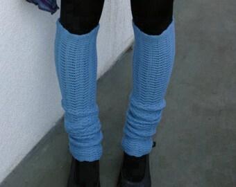 Blue Leg Warmers Light Yoga Socks Spats Boot Cuffs Merino Legwear