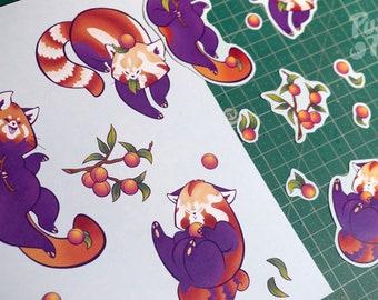 Red Pandas & Peaches - Stickers + Print Set