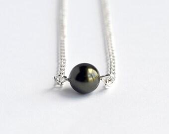 Dark olive green Swarovski pearl delicate minimal necklace on silver chain