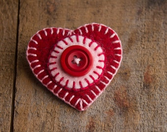 Sweetheart Series - Red and Pink Heart Brooch with Button - Penny Rug style