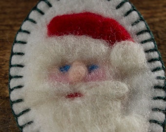 Christmas Series: Santa Claus - Needle Felted Wool St Nick on White