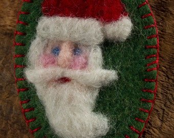 Christmas Series: Santa Claus Wool Brooch - Needle Felted Wool St Nick on Green