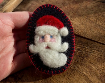 Christmas Series: Santa Claus - Needle Felted Wool St Nick on Black