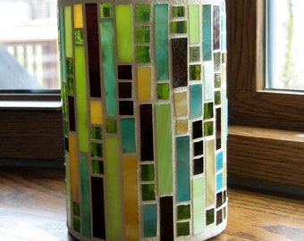 Stained Glass Mosaic Candle Holder-Mosaic Art-Glass Candle Holder-Home Decor-Desk Organizer-Mosaic Vase-Multi Color Mosaic Candle Holder