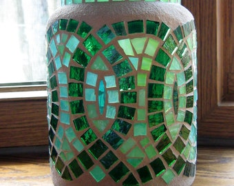 Celtic Mosaic Candle Holder-Stained Glass Mosaic-Green Glass Candle Holder-Celtic Home Decor-Mosaic Art-Glass Art-Desk Organizer